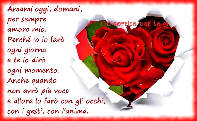 Amami oggi, domani, per sempre amore mio